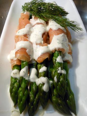 Asparagus and Salmon With Dill Cream. Photo by JustJanS