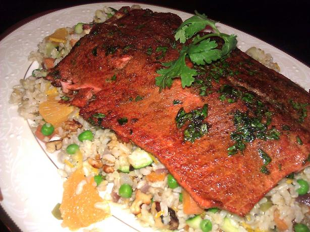 Cumin Crusted Salmon With Orange Rice Pilaf. Photo by mersaydees