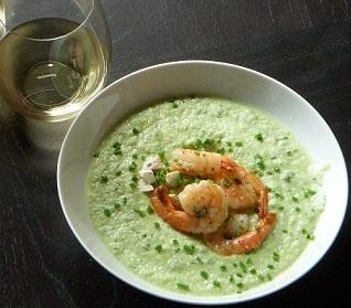 Chilled Cucumber Soup With Shrimp and Goat Cheese. Photo by Jackie_Food&Wine