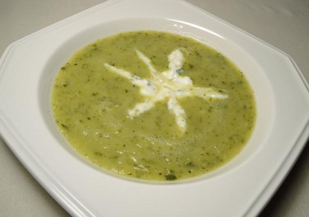 Zucchini Soup With Herbed Cream. Photo by Debbwl