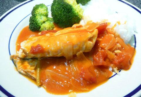 Red Snapper With Coconut Sauce. Photo by Mikekey