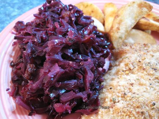Red Cabbage Salad With Apples, Raisins & Honey Dressing. Photo by Annacia
