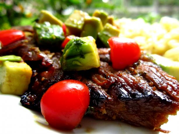 Honey-Lime Grilled Skirt Steak With Avocado-Tomato Relish. Photo by gailanng