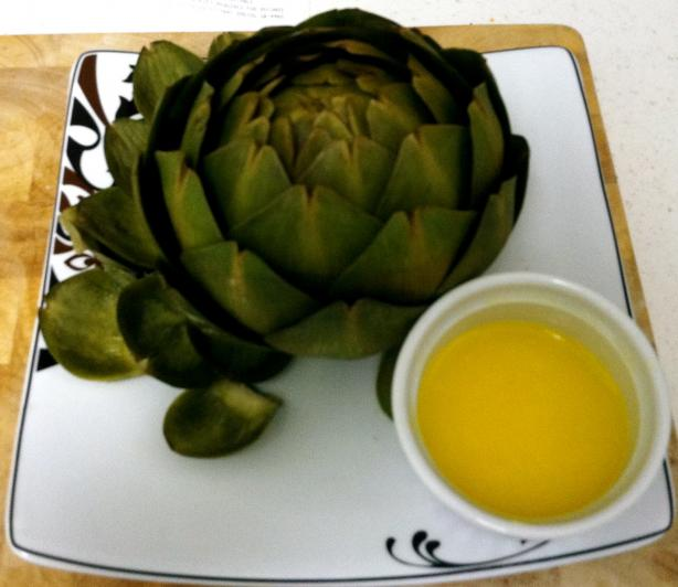 Boiled Artichoke With a Garlic Butter Dipping Sauce. Photo by RatatoullieRosey