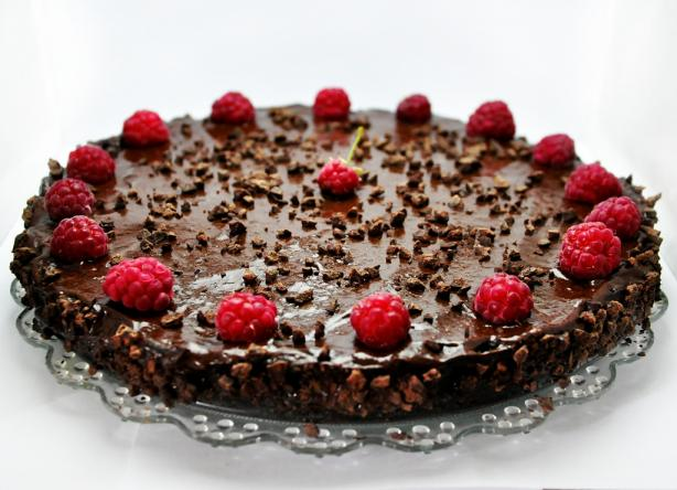 Raw Vegan Chocolate and Raspberry Birthday Cake. Photo by gourmandelle