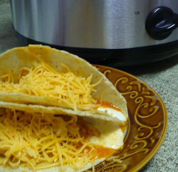 Crockpot Buffalo Chicken Tacos. Photo by megs_