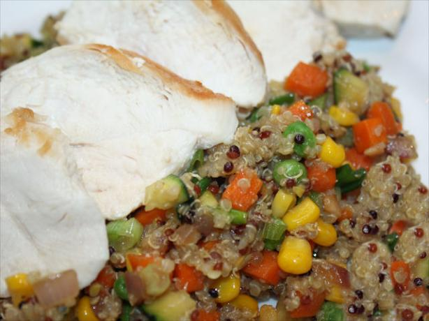 Quinoa With Veggies and Grilled Chicken Breast. Photo by **Jubes**
