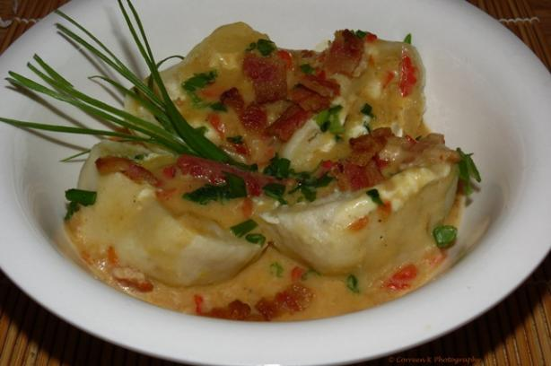 Goat Cheese and Spinach Potato Dumplings With Bacon Gravy. Photo by Ms. Correen