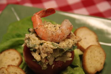 Italian Shrimp Potato Salad Stuffed Tomatoes. Photo by mayobt_3921633
