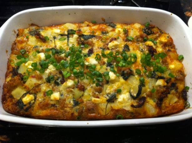 Potato Strata With Spinach, Sausage and Goat Cheese. Photo by aeht206