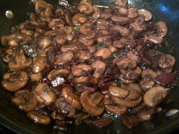 Mushrooms With Bacon and Onion in Red Wine Reduction. Photo by Yami Zuma