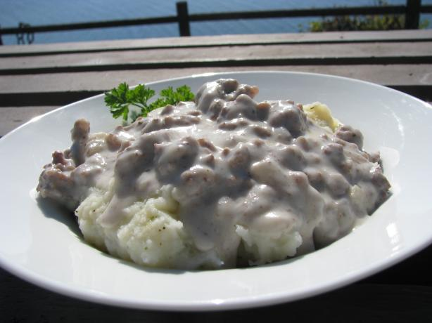 Hamburger Gravy over Mashed Potatoes. Photo by lazyme