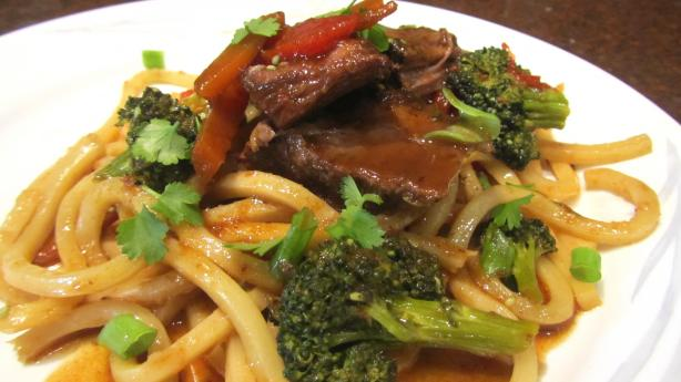 Asian Chuck Pot Roast With Veggies and Udon Noodle. Photo by Rita~