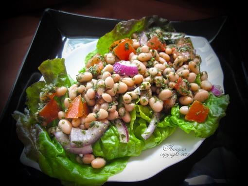 Fasulya Beeda Barda - Egyptian White Bean Salad. Photo by Annacia
