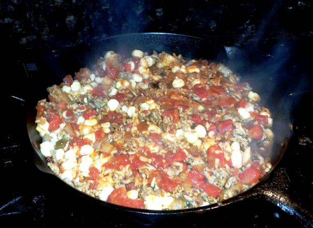Hominy Goulash Skillet. Photo by Red Apple Guy