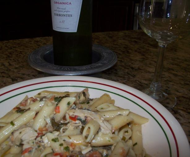 Pasta With Roasted Chicken and Fresh Herbs. Photo by Jostlori