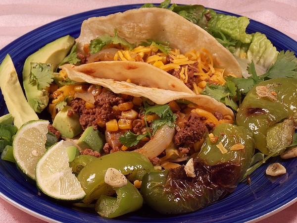 Beef and Corn Tacos With Garlicky Roasted Peppers. Photo by Lavender Lynn