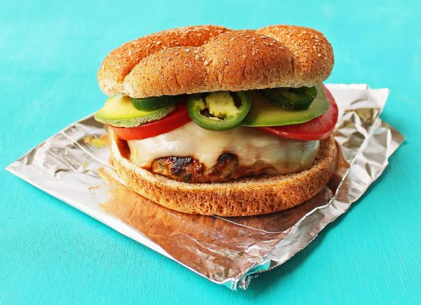 Cilantro Turkey Burgers With Pepper Jack Cheese and Avocado. Photo by Simply Fresh Cooking