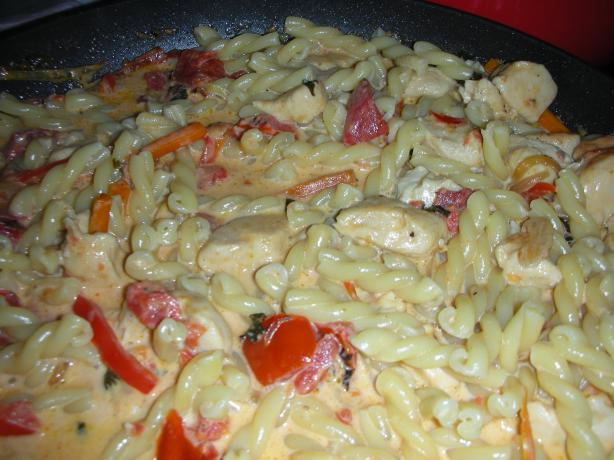 Gemelli With Chicken and Vegetables in Tomato-Basil Cream Sauce. Photo by JackieOhNo!