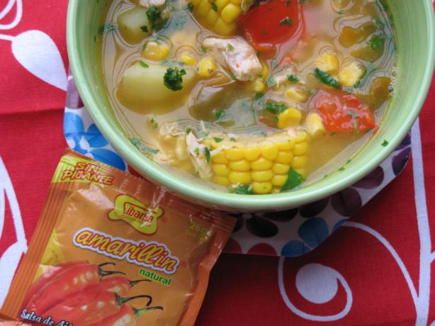 Peruvian-Style Corn, Pepper and Chicken Soup. Photo by MsPia