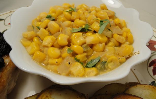 "Spicy ""Creamed"" Corn (Dairy-Free). Photo by Debbwl"