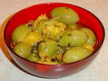 Marinated Green Olives With Sesame, Orange, and Mint