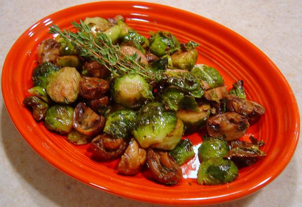 Roasted Brussels Sprouts With Mushrooms. Photo by :(