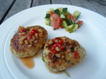 Asian Style Chicken & Cashew Cakes. Photo by Kiwi Kathy