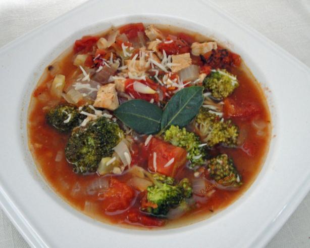 Broccoli, Tomato and Chicken Soup. Photo by Debbwl