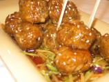 Meatballs in a Sweet &#39;n Spicy Asian Sauce With Warm Asian Slaw