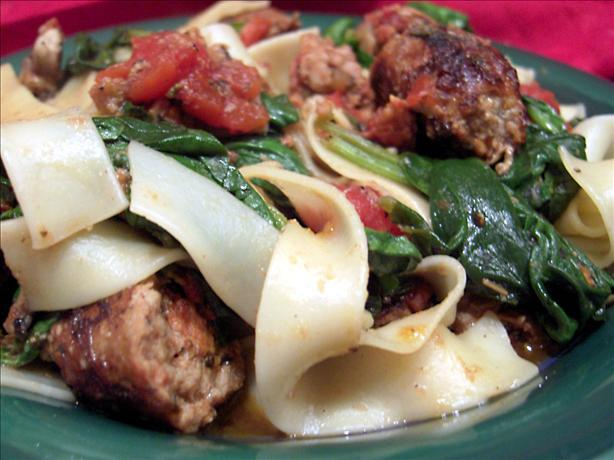 Smoked Turkey Sausage With Pasta. Photo by Derf