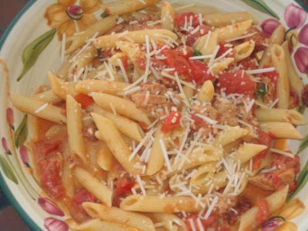 Pink Sauce With Sausage and Pine Nuts over Penne. Photo by RedVinoGirl