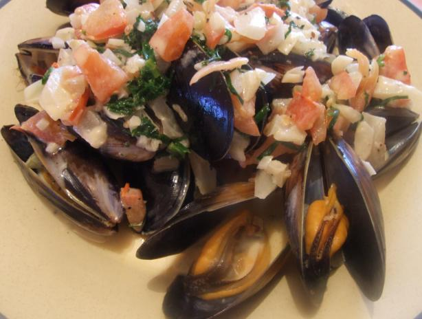 Mussels in Herbed Cream Sauce. Photo by Peter J