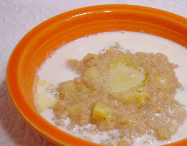 Oat bran-Banana Breakfast for One. Photo by :(