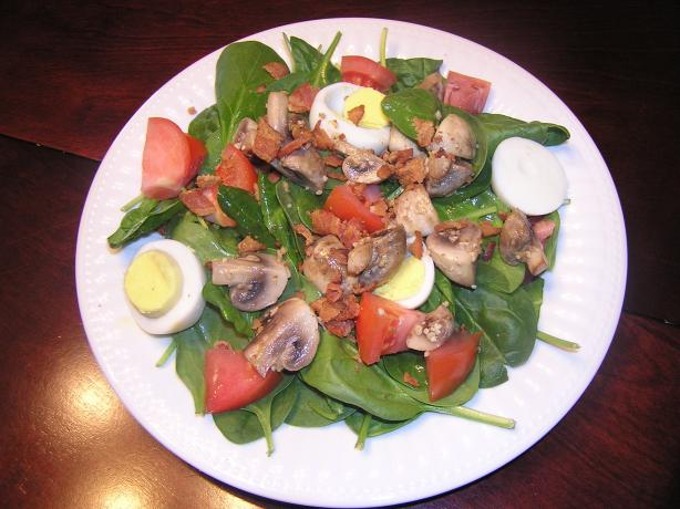 Spinach Salad with Honey Bacon Dressing. Photo by mum2vanshancass