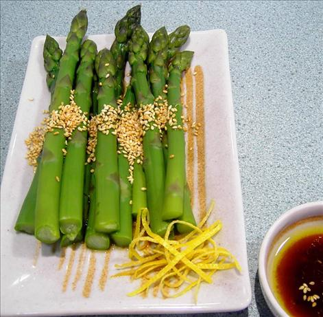 Hot or Cold Sesame Asparagus. Photo by JustJanS