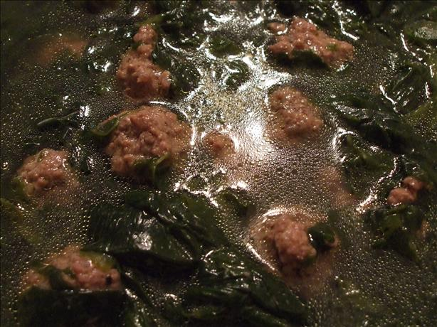 Comfort Soup (Spinach & Meatballs). Photo by Picholine