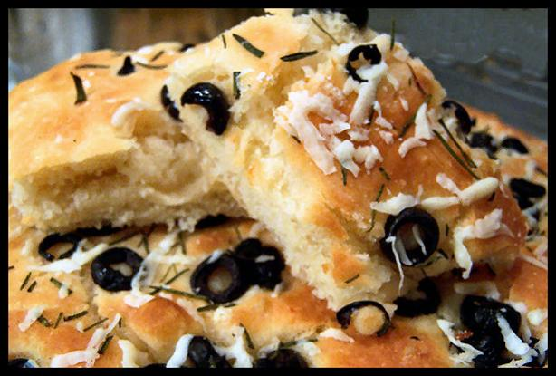 Focaccia Bread Herbed With Black Olive & Fresh Rosemary. Photo by NcMysteryShopper