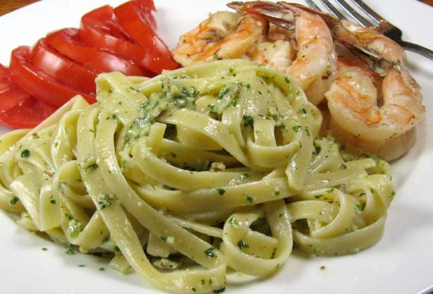 Fettuccine With Pesto Sauce. Photo by dianegrapegrower