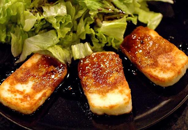 Halloumi Cheese with caramelised balsamic vinegar. Photo by Sackville