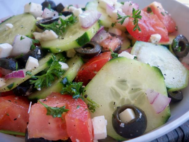 Greek Cucumber - Tomato and Onion Salad. Photo by *Parsley*