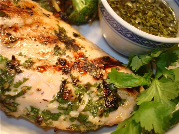 Grilled Chicken With Coriander/Cilantro Sauce. Photo by Vicki in CT