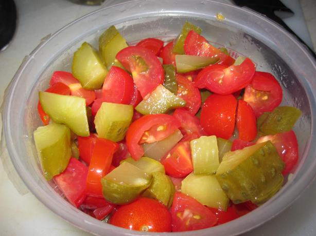 Tomato and Pickled Dill Cucumber salad. Photo by Katanashrp