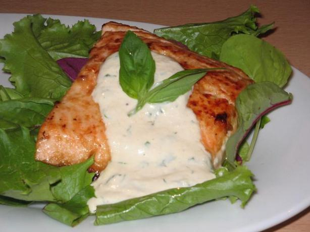 Grilled Salmon With Horseradish Sauce. Photo by The Flying Chef