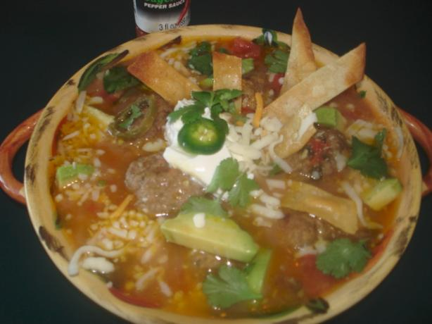 Mexican Tortilla Meatball Soup. Photo by Linajjac