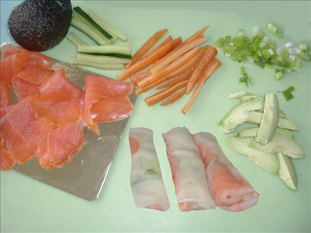Smoked Salmon & Rice Paper Rolls. Photo by Bergy