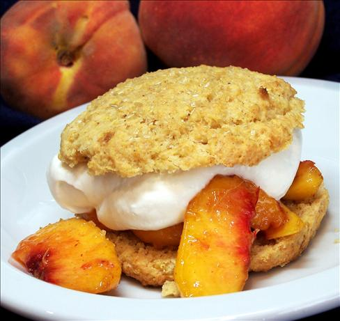 Peaches and Cream Shortcakes With Cornmeal-Orange Biscuits. Photo by PaulaG