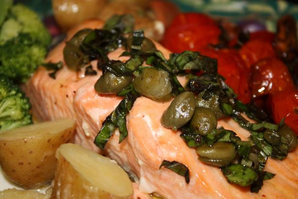 Baked Salmon With Caper Sauce. Photo by Leggy Peggy
