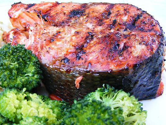 Easy Glazed Grilled Salmon. Photo by Lavender Lynn