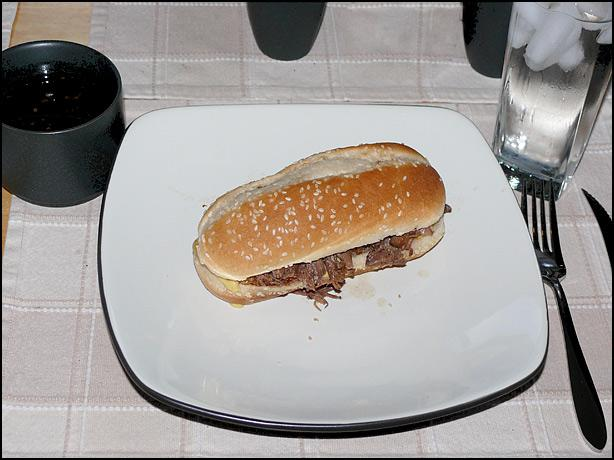 Shredded French-Dip Sandwiches. Photo by i_am_jim